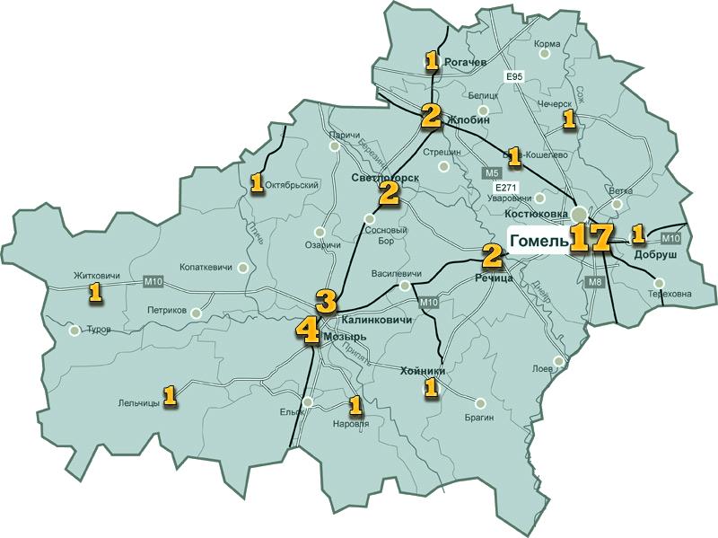 карта Гомельской области ссо, пто